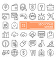 seo thin line icon set marketing symbols vector image vector image