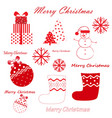 set red christmas and new year simbols vector image vector image