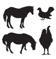 Silhouettes of animals and birds vector image vector image