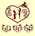 silhouettes of boy and girl with cupid set vector image