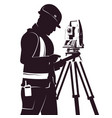 surveyor and total station silhouette vector image vector image