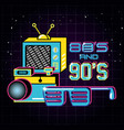 televisor with icons of eighties and nineties vector image vector image
