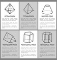 tetrahedron and octahedron pentagon prism sketch vector image vector image