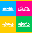 tow truck sign four styles of icon on four color vector image vector image