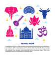 travel india bright banner with national symbols vector image vector image