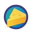 triangle piece of cheese logo round emblem of vector image vector image