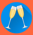 two champagne glasses on blue round background vector image vector image