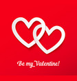 valentines paper hearts on red background vector image