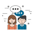 white background with teamwork couple with bubble vector image vector image