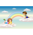 A rainbow with kids vector | Price: 1 Credit (USD $1)