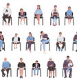 adults and children sitting on chairs seamless vector image vector image