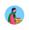 arab woman traditional clothes hold gift box happy vector image vector image