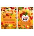autumn leaf fall season greeting cards vector image vector image