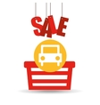 basket shopping sale car graphic vector image