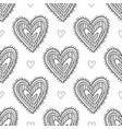 black boho ornamental hearts seamless pattern vector image vector image
