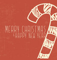 candy cane christmas and happy new year card vector image vector image