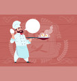 chef cook holding frying pan with eggs smiling vector image vector image