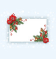 christmas card template with pine tree branch vector image