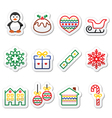 Christmas winter icons with stroke - penguin Chr vector image vector image