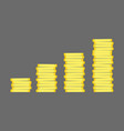 coins stack gold money icon flat design vector image