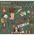 Colored finance forex hand drawing vector image
