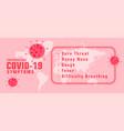 coronavirus covid19-19 symptons with virus spread vector image vector image