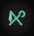 Egyptian crook and flail icon in glowing neon