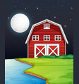 farm scene with barn and river side at night vector image vector image