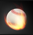 flaming realistic baseball ball on fire flying vector image vector image