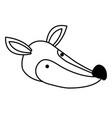 fox cartoon head in monochrome silhouette vector image