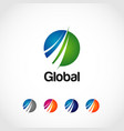 global solution company logo template with vector image