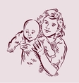 Hand drawn sketch mother and baby vector image vector image