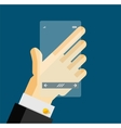 Hand holding transparent screen mobile phone vector image