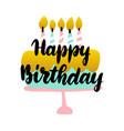 happy birthday handwritten postcard vector image vector image