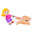 happy girl walking with funny dog vector image