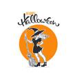 happy halloween halloween witch greeting card vector image vector image