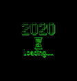 happy new year 2020 with loading icon pixel art vector image vector image