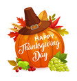happy thanksgiving day poster with pumpkin vector image vector image