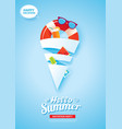 hello summer card banner with ice cream cone vector image