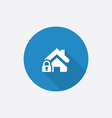 home lock Flat Blue Simple Icon with long shadow vector image vector image