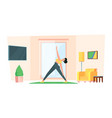 home yoga family healthy active stretch gymnastic vector image