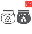 honey jar line and glyph icon rosh hashanah vector image vector image