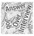 How Not to Obsess after a Job Interview Word Cloud vector image vector image