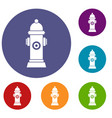 hydrant icons set vector image vector image