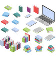 isometric books and laptop set vector image vector image