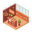 isometric greenhouse for plants vector image vector image