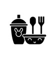 kids dinnerware black glyph icon vector image