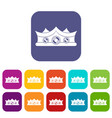 king crown icons set flat vector image vector image