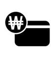 korean won credit card icon vector image vector image