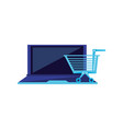 laptop computer with cart shopping vector image vector image
